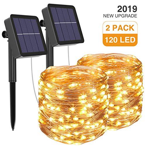 [2 Pacchi] Luci Solari Esterno, Litogo 12m 120 LED Catena Luminosa Esterno Filo Luci Led 8 modalità...