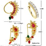 VAMA FASHIONS Gold Plated Maharashtrian Nath Clip on Combo Nose Ring Without Piercing for Women 18