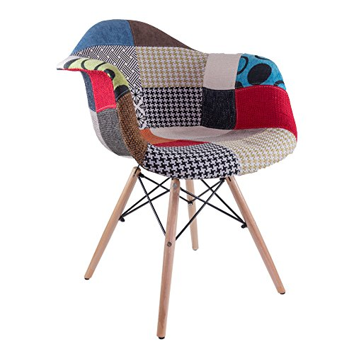 Fashion Commerce Daw Poltroncina, Tessuto Patchwork/Polipropilene, Multicolore, 61 x 59 x 80 cm