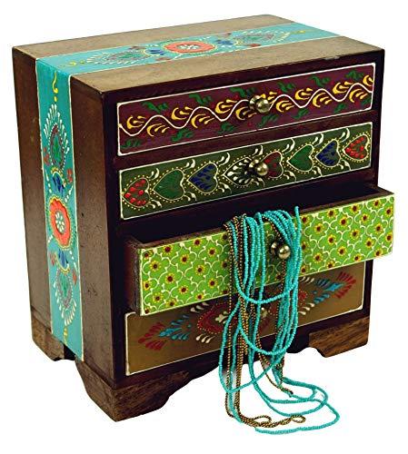 Guru-Shop Kleines Apothekerschränkchen, Schmuckkästchen, Handbemalt, MDF, 22x20x13 cm, Aufbewahrung