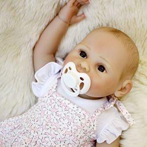 ZZSQ Realista Reborn Muñecos Bebe Hechos a Mano Baby Dolls renacida Chica Vinilo de Silicona Completa Muñeca para bañar Juguete para niños 16