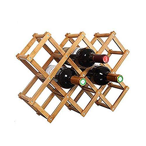 LWVAX® Foldable Wooden Wine Rack Shelf Organizer Display Shelf, 45 X 31 X 12Cm, Capacity 10 Bottle Wine Bottle Storage Slots (Carbonized Color,No Oil Paint)
