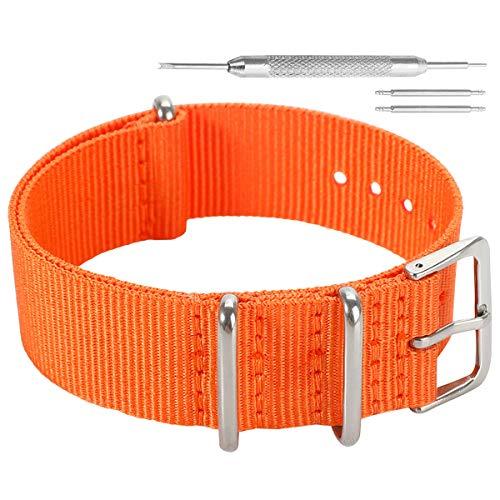 AUTULET 24mm arancione deluxe stile trendy NATO robusto esotico nylon morbido polso banda vigilanza del wristband uomini di sport