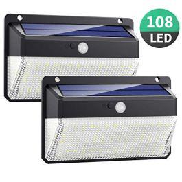 Luce Solare LED Esterno, Kilponen 108 LED Super Luminosa Lampada Solare con Sensore di Movimento [270º Illuminazione 2 Pezzi] Luci Solari da Parete Impermeabile Solare con 3 Modalità per Giardino