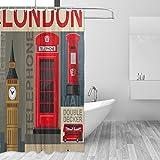 Cortinas de ducha impermeable moho a prueba de molde resistente al Vintage Big Ben autobús de Londres impreso lavable cortina de baño de poliéster con resistente ganchos para baño decoración del hogar accesorios 66x 72INC