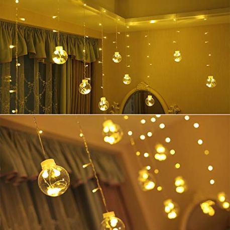 BLOOMWIN-Rideau-de-Lumire-avec-Anneau-Fixe-LED-Boule-de-Verre-3m-065m-120LEDs-8-Modes-dEclairage-Guirlande-Lumineuse-Intrieure-Dcoration-Fentre-Chambre-Mariage-Nol-Fte-Anniversaire
