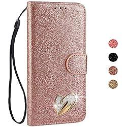 BoRan Funda Galaxy S7 Edge Piel, Carcasa S7 Edge Case Corazón de Amor con Diseño de Cristal Soporte Plegable+Ranuras para Tarjetas+Cierre Magnético Compatible for Samsung Galaxy S7 Edge - Oro Rosa