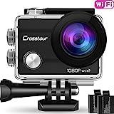 Action Kamera Wifi Cam 1080P Full HD Crosstour 2' LCD Sports Cam 170°Weitwinkel Helmkamera Unterwasserkamera mit 2 Batterien 1050mAh und Zubehör Kits
