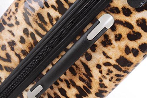 Polycarbonat Hartschale Koffer 2060 Trolley Reisekoffer Reisekofferset Beutycase 3er oder 4er Set in 12 Motiven (Leopard) - 6