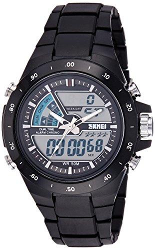 Skmei Chronograph Analogue Digital Sport Black Dial Men's Watch - GM6101BLK