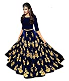 Lovisa Fashion Woman's Embroidered BlackBerry Velvet Nevy Blue Colored Semi-stitched Lahenga Choli (Mastani_Navy_Blue_Semi stitched_Choli)