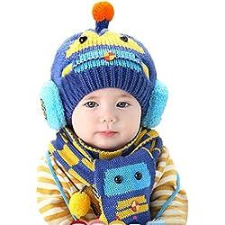 Happy cherry - (Set de 2 )Bufanda y Gorro de Lana Invierno Otoño Caliente para Bebés niños niñas - Diseño de coche - Azul