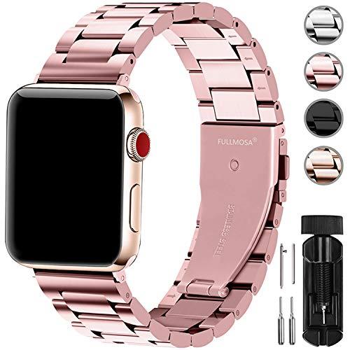 Fullmosa Compatibile Cinturino per Apple Watch 42mm e 38mm,3 Colori Cinturino per iWatch in Acciaio Inossidabile,Cinturino per Apple Watch Series1,2,3,4,5, 38mm Rosa Dorata
