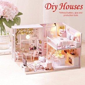 Joojun Casas de muñecas,Kit de Modelo de casa de Bricolaje,casa de muñecas en Miniatura Rosa para niños y Adultos Regalo de cumpleaños de Navidad