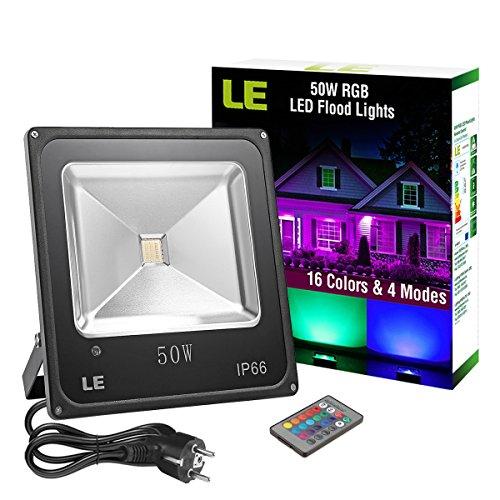 LE Projecteur LED RGB 50W Multicolore Extérieur 16 Couleurs 4 Modes ...