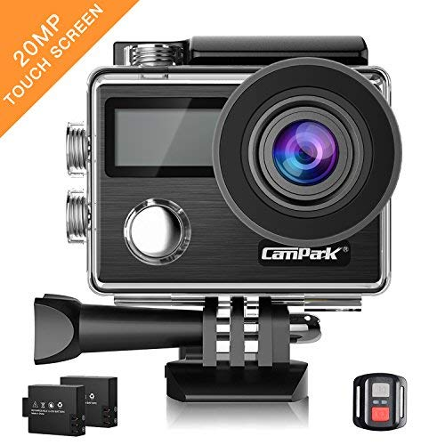 Campark Action Cam X20 HD 20MP 4K WiFi Touch Screen Macchina Fotografica Subacquea 30M con Custodia...