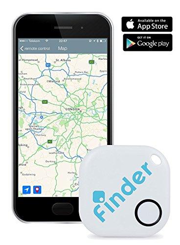 musegear® finder Localizador de llaves | Encuentre sus objetos perdidos mediante la aplicación gratuita (iPhone y Android) | El gadget definitivo a modo de llavero o accesorio para el coche | blanco