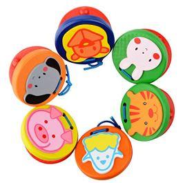 6pcs Infant Strumento Musico Ritmo Toy Cartoon Pattern legno Finger Castanets giocattolo educativo p