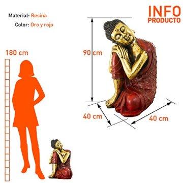 Figura buda de resina en color rojo y dorado | 60 cm de alto | Portes gratis 5