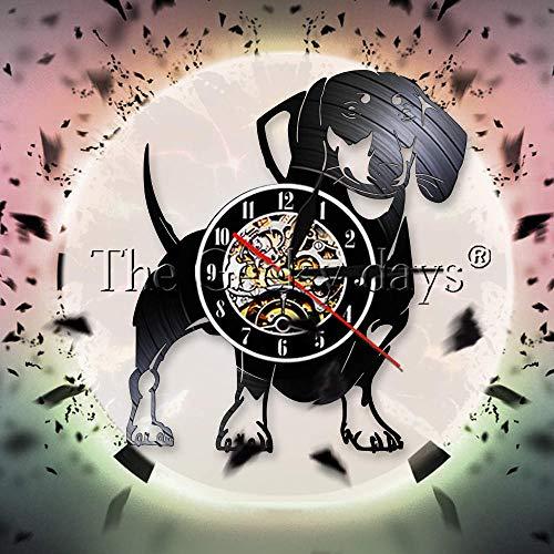 Dachshund dai capelli duri orologio da parete in vinile Orologio da parete con cane Wiener orologio da compagnia pet pug cane cucciolo da parete regalo amante dei cani