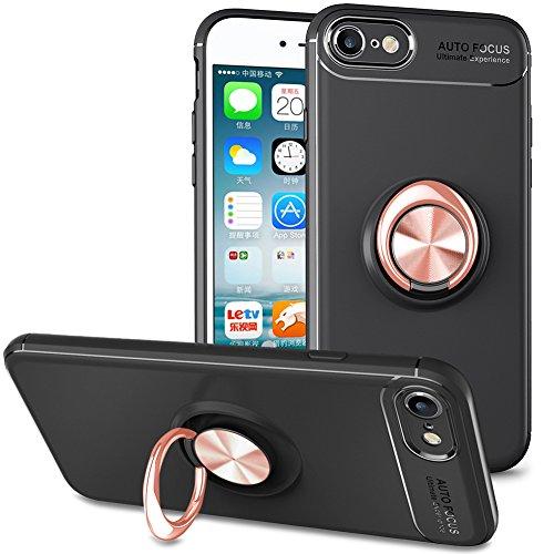 BtDuck iPhone 8 Hülle Schwarz, Soft Ultra Slim Matt Dünn Silikon Hülle für iPhone 7/iPhone 8 mit Metall Ring Handyhalterung Auto Magnet Ständer Smartphone Halter Ständer Ringhalter Hülle Rosegold