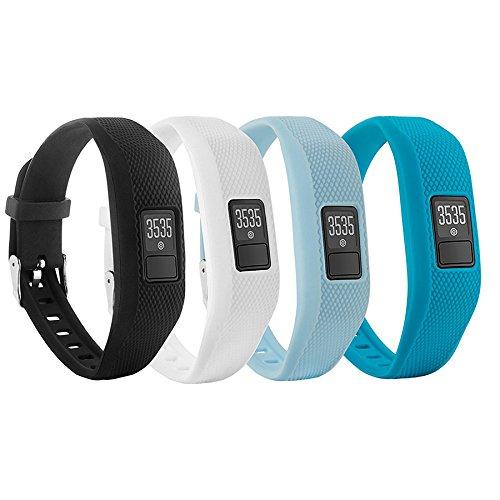Fit-power cinturino di ricambio con fibbia in morbido silicone per braccialetto da fitness Garmin Vivofit 3 (senza tracker), 4 Colors