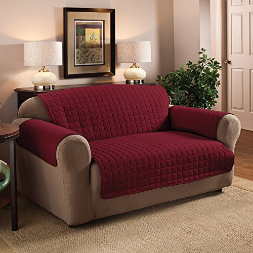 2 Seater Sofa Protector Burgundy Wine 46 X 705 Luxury Quilted