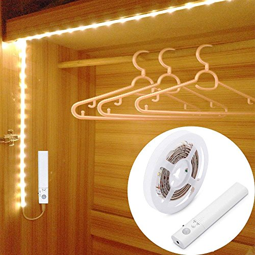 45LED 150cm Luce LED da guardaroba con sensore di movimento,Strisce Led Luce Notturna,LUXJET Sensori...