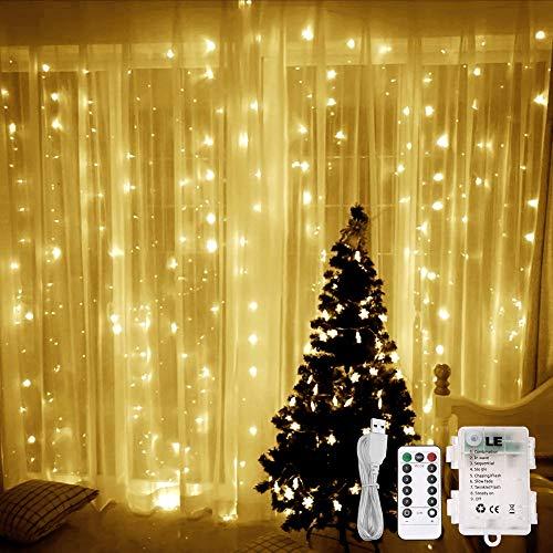 LE Luci Cascata per Finestra 3x3m 300 LED, Bianco Caldo, Batterie + Cavo USB, 8 Modalità, Funzione...
