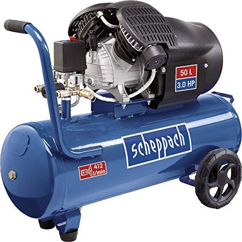Scheppach Kompressor HC53DC (2200 Watt, 50 L, 10 bar, Ansaugleistung 412L/min, Druckminderer, ölgeschmiert, Doppelzylinder)
