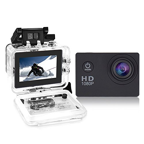 Yuntab fotocamera sport d'azione Action Sport Camera Full HD 1080P outdoor videocamera impermeabile LCD Waterproof Video Helmetcam con biking, swimming, diving + battery + charger A9 NERO