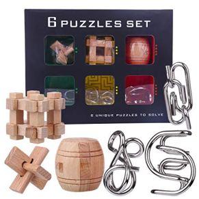 ZUJI 6 Piezas Rompecabezas Madera y Rompecabezas Metal Calendario Adviento 3D Rompecabezas Puzzles IQ Inteligencia Juguete Educativo Juego para Niños