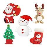 5pcs*32GB Navidad USB Flash Drive Lovely Santa Claus&Alce&Muñeco de Nieve&Arbol de Navidad USB Pen Drive Sets Sticks Gift For Students Kids Children Memoria U Disk