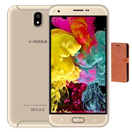Moviles Libres Baratos V Mobile J5 Pro,9Pcs 5.5 Pulgadas 16GB ROM Dual Sim HD+ 1440*720 Pixeles Cámara de 5MP 3G+ Smartphone Baratos Libres (16GB ROM+1GB RAM, Oro+Funda Cuero)