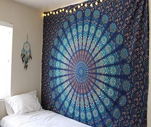 Raajsee arazzo mandala telo indiano cotone, hippy bohémien turchese blu arazzo da parete...