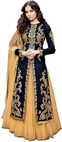 Caffoy Cloth Company Women's Bangalori Silk Anarkali Gown (CFGW_GLZR-1506, Blue, Free Size)