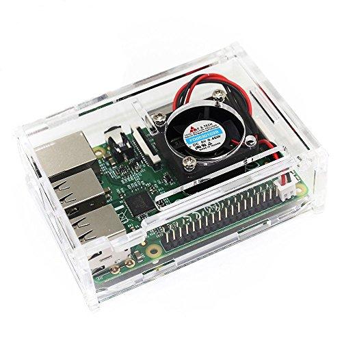 51hCHk3jp9L - TRIXES Caja Acrílica Transparente con Ventilador de Enfriamiento para Raspberry Pi Modelo B+, Raspberry Pi 2 Modelo B y Raspberry Pi 3