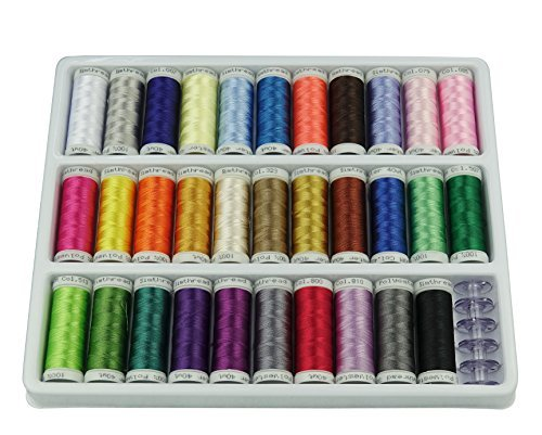 Simthread 32 Spool Polyester Embroidery Machine Thread Set Brilliant Colors for Home Sewing Machines 200m/spool