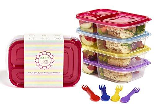 4 pz, multicolore, Eco-Friendly, 3 scomparti, con porta pranzo, capacità: Sporks, riscaldabile nel...