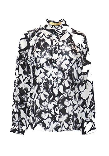 Pernille Camisa, 100% Seda, Cuello clásico, Frontal con Botones de Perlas, Manga Larga y puños con Botones, Flores de la fantasía, Hawaii Estilo