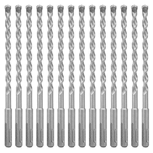 Taladro helicoidal de repuesto, martillo eléctrico Broca de hormigón Mango redondo Herramienta de perforación profesional para madera Plástico Metal Aleación de aluminio(14 * 200mm)