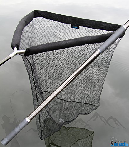 DD-Tackle Deluxe - Retino per pesca alla carpa con galleggiante, 105 x 105 cm, asta di guadino in carbonio da 1,80 m e custodia