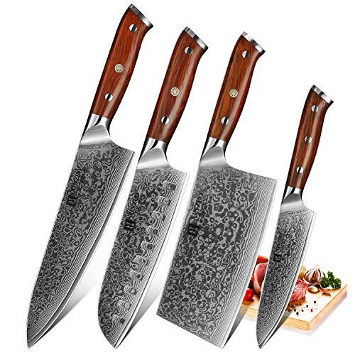 XINZUO Coltello Santoku Damasco 17,6cm Coltelli Cucina Professionali Giapponese Acciaio da 67 Strati...