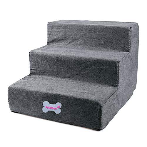 Yuena Care Haustiertreppe für Hunde Katzen mit 3 Stufen 40 x 38 x 30cm (Grau)