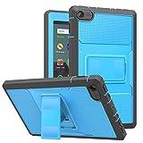 MoKo Housse Compatible avec Amazon Kindle Fire 7 (9ème génération - 2019), Étui Robuste Toute Protection Coverture Coque Compatible avec Amazon Fire 7 2019 - Bleu + Gris Foncé