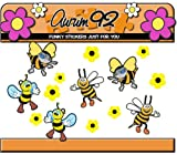 Aurum92 Bumble Bee Stickers - Funny x6