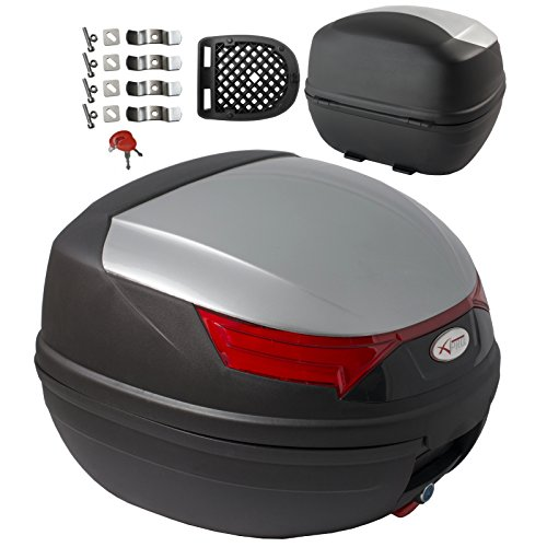 A-Pro - Bauletto con frecce e luci di stop per moto, scooter, quad, da 32L, colore argento