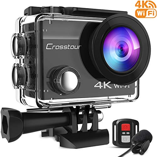 Crosstour 4 K 16 MP Action Camera WiFi impermeabile con microfono esterno telecomando anti-shaking time-lapse e 2 batterie ricaricabili e set di accessori per sci e snowboard