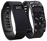 Greatfine Wireless Smart Watch Band Cover for Fitbit HR or Fitbit HR Charge (Black+Black Flower)