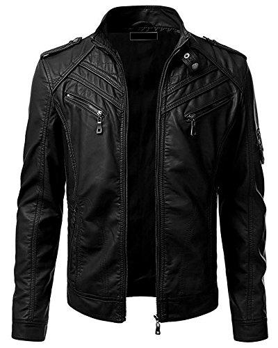 Blaq Ash Men's Faux Leather Biker Outerwear Jacket (Black, M)